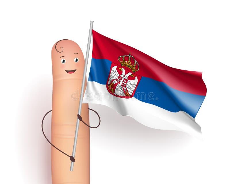 Развевать флага Сербии иллюстрация вектора
