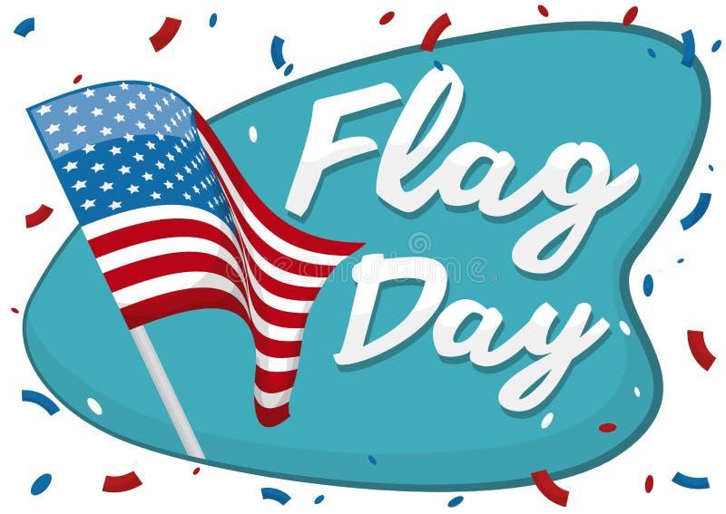 Развевая американский флаг с Confetti для того чтобы чествовать День флага, иллюстрацию вектора бесплатная иллюстрация