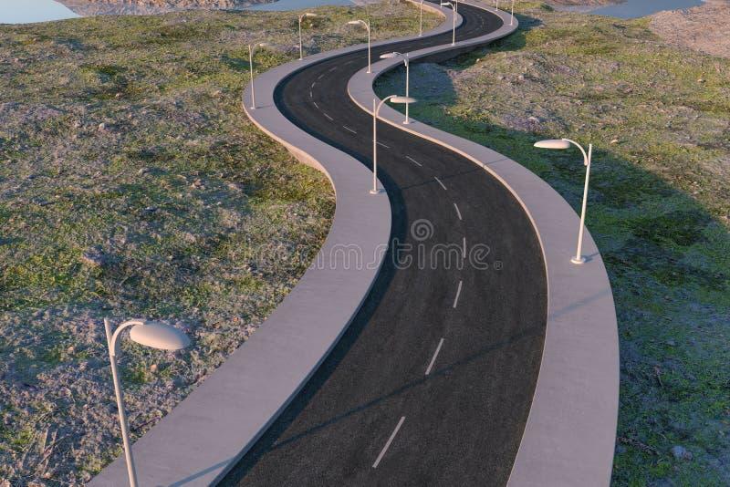 Развевая дорога в дезертированных пригородах, перевод 3d бесплатная иллюстрация