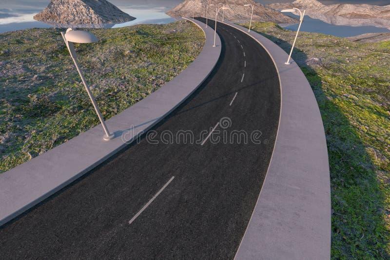 Развевая дорога в дезертированных пригородах, перевод 3d иллюстрация вектора