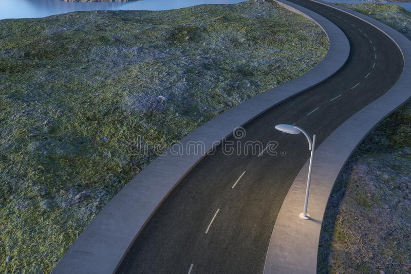 Развевая дорога в дезертированных пригородах, перевод 3d иллюстрация штока