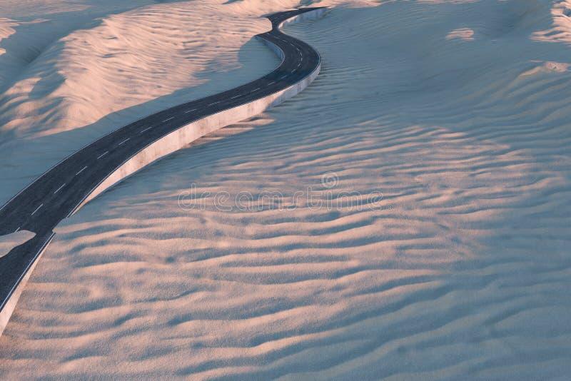 Развевая дорога в пустыне, переводе 3d иллюстрация вектора