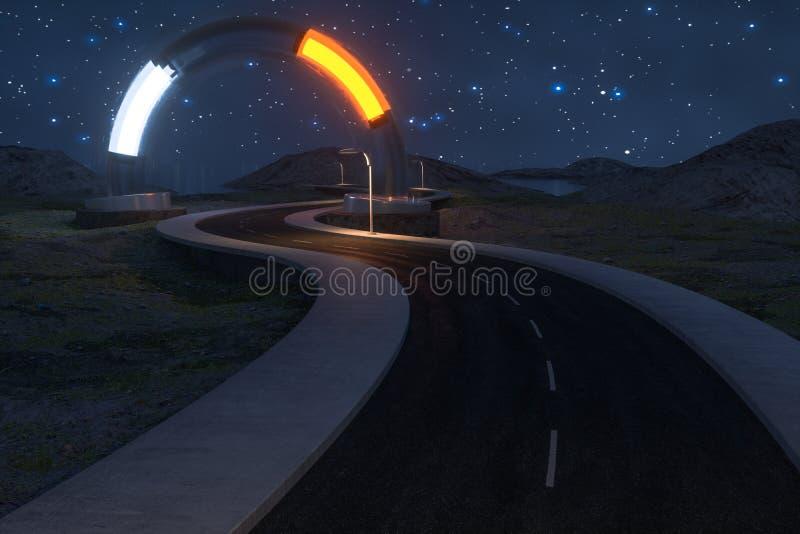 Развевая дорога и круглый волшебный вход, перевод 3d иллюстрация вектора