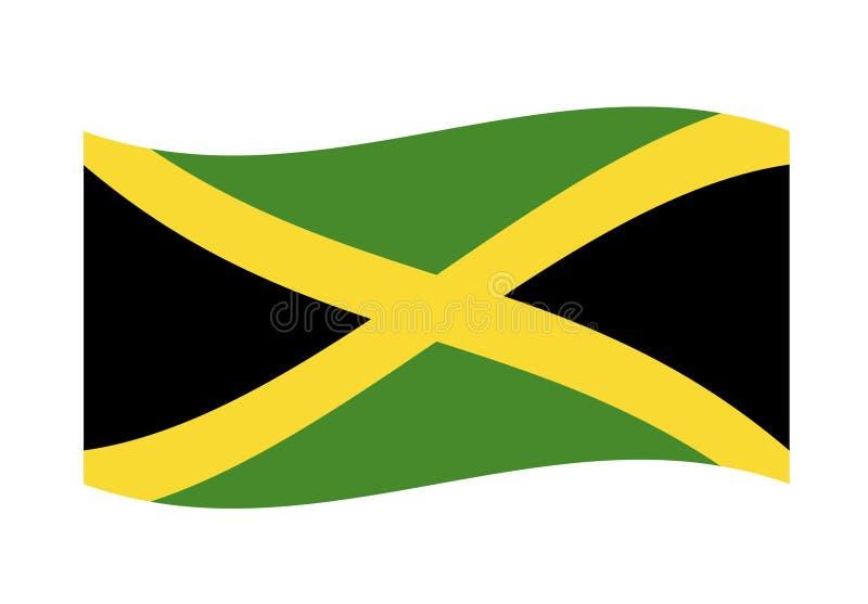 Развевая иллюстрация вектора флага Ямайки иллюстрация вектора