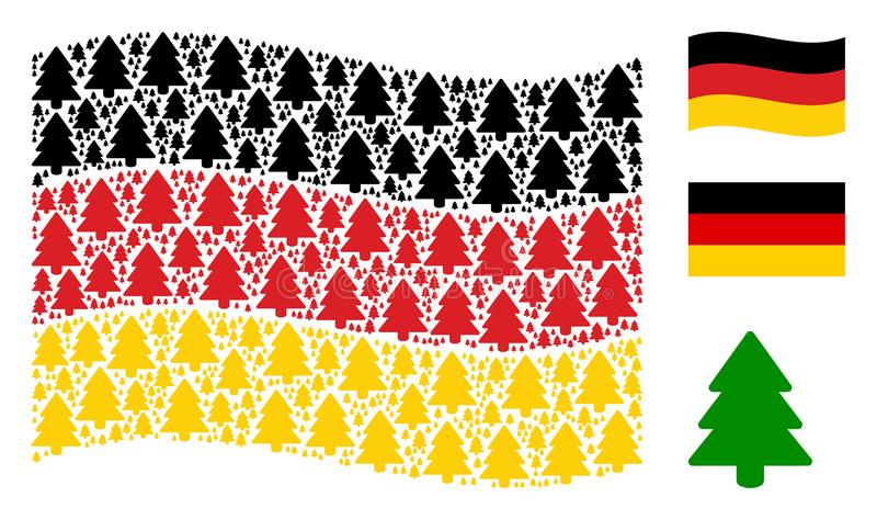 Развевая коллаж флага Германии значков ели иллюстрация штока