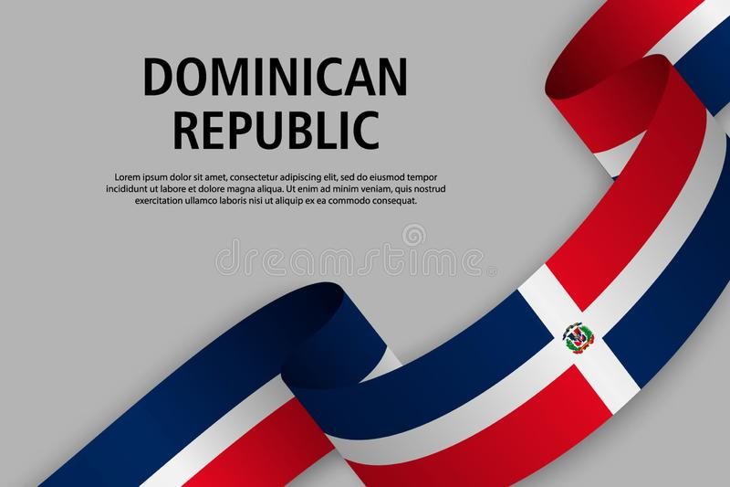 Развевая лента с флагом Доминиканской Республики, иллюстрация штока