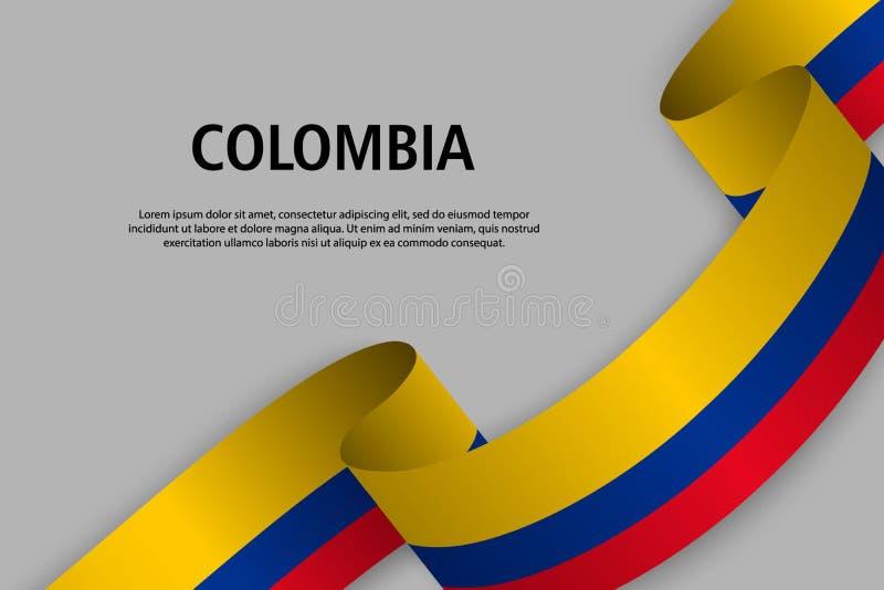 Развевая лента с флагом Колумбии бесплатная иллюстрация