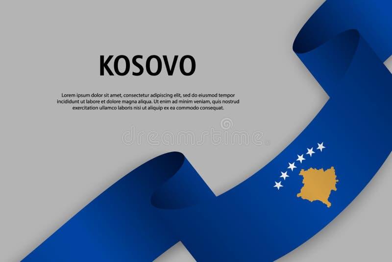 Развевая лента с флагом Косова бесплатная иллюстрация