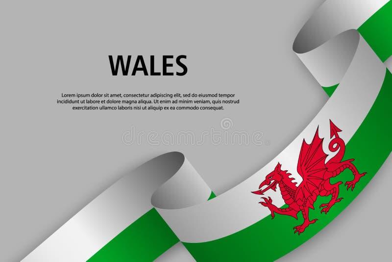 Развевая лента с флагом Уэльс, бесплатная иллюстрация