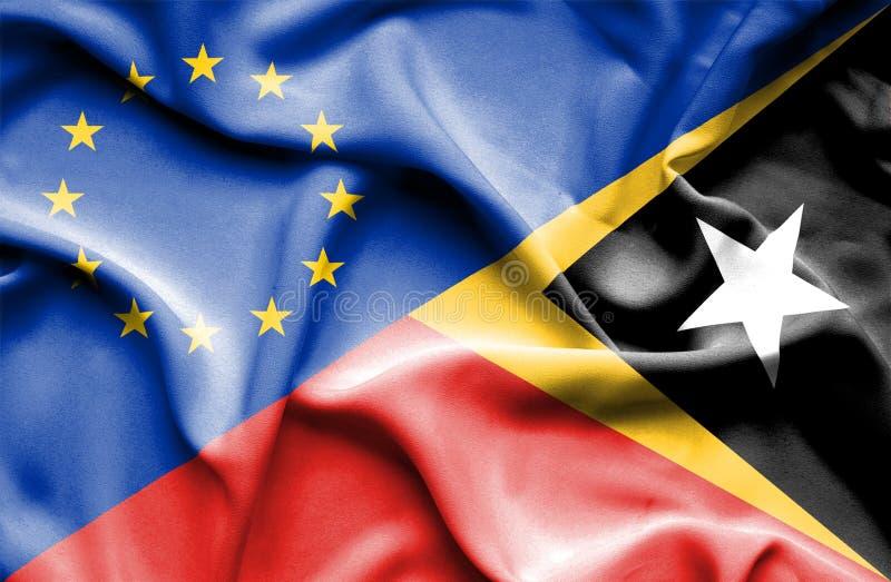 Развевая флаг Восточного Тимора и ЕС стоковые фотографии rf