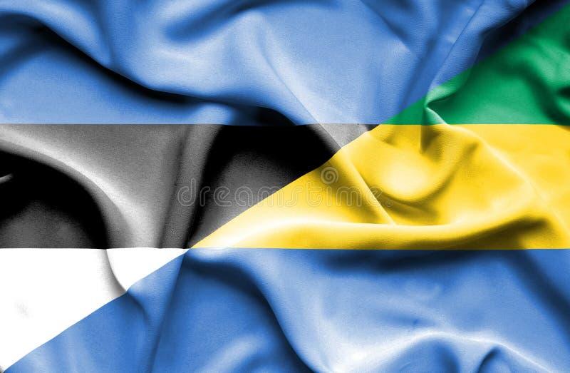 Развевая флаг Габона и Эстонии стоковое изображение