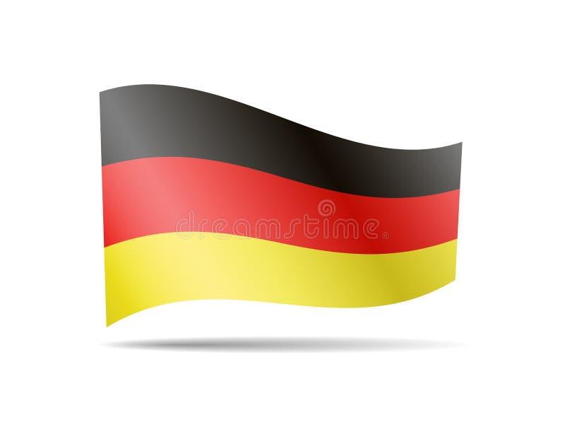 Развевая флаг Германии на белизне Флаг в ветре иллюстрация штока