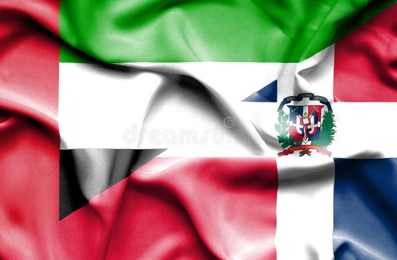 Развевая флаг Доминиканской Республики и Объениненных Арабских Эмиратов иллюстрация штока