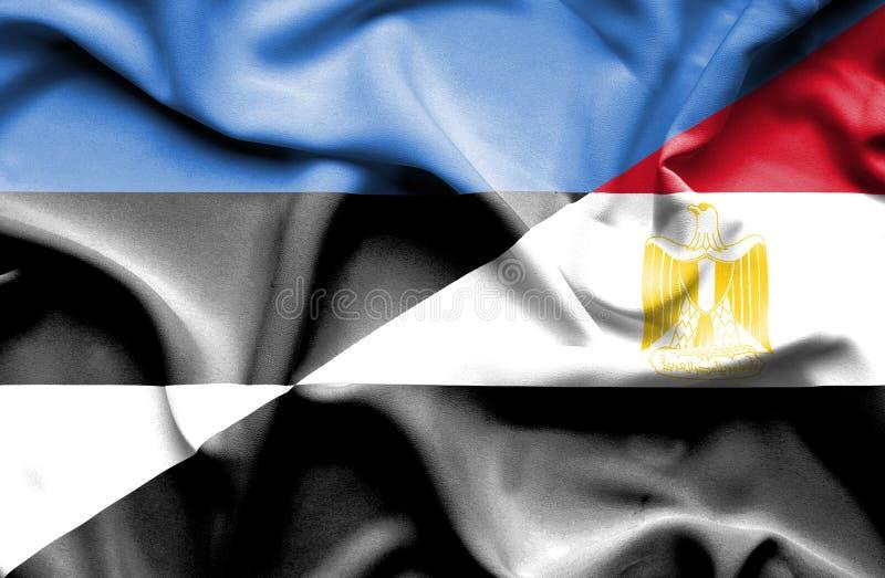 Развевая флаг Египта и Эстонии стоковые изображения rf