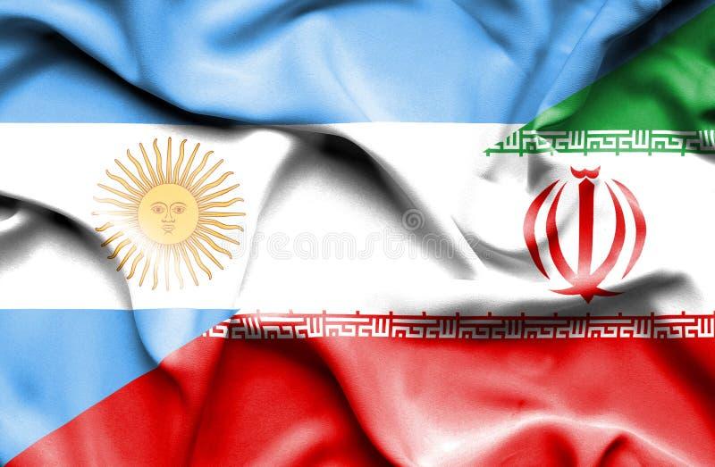 Развевая флаг Ирана и Аргентины иллюстрация вектора