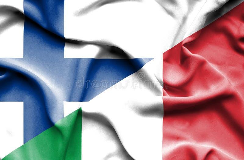Развевая флаг Италии и Финляндии стоковая фотография