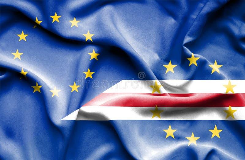 Развевая флаг Кабо-Верде и ЕС стоковое изображение rf