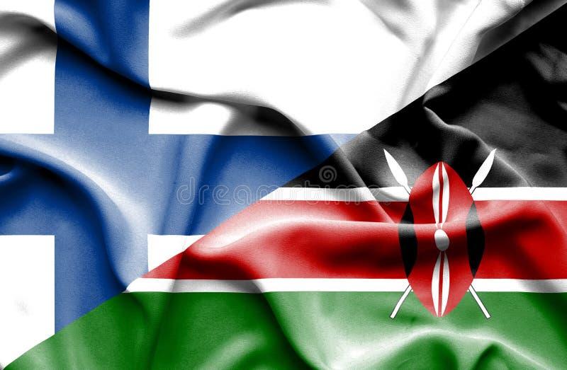 Развевая флаг Кении и Финляндии стоковые изображения rf