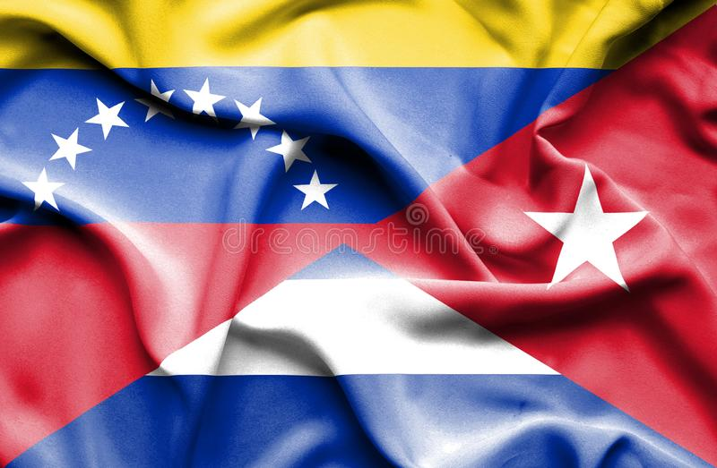 Развевая флаг Кубы и Венесуэлы бесплатная иллюстрация