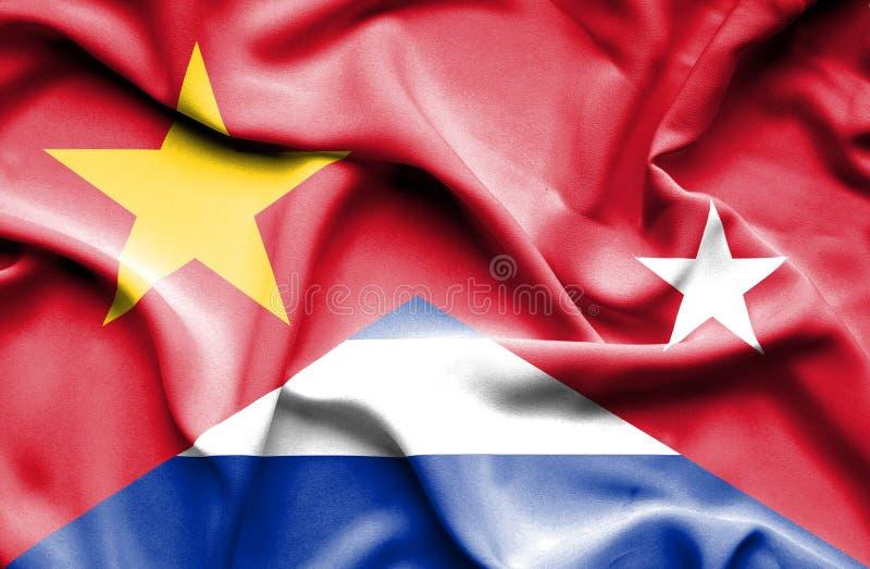 Развевая флаг Кубы и Вьетнама иллюстрация вектора