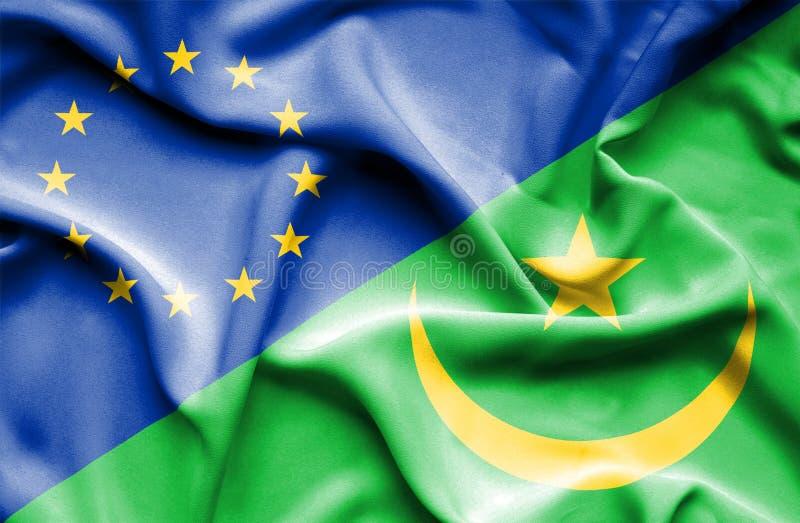 Развевая флаг Мавритании и ЕС стоковые фотографии rf