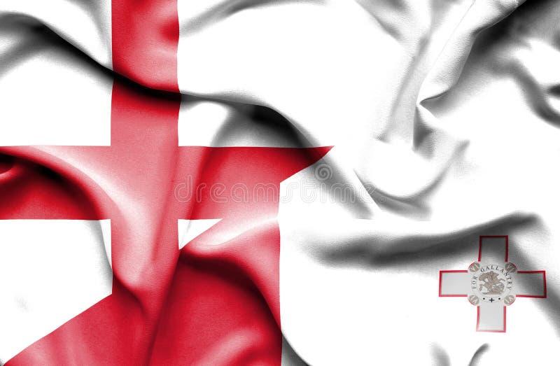 Развевая флаг Мальты и Англии стоковые изображения rf