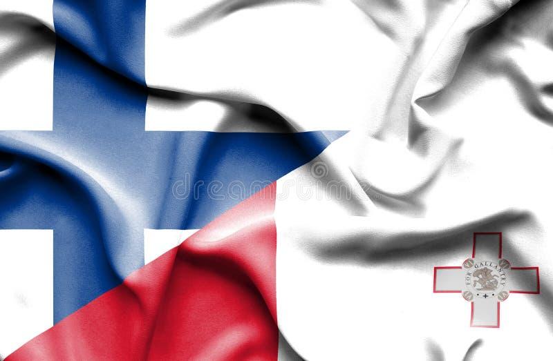 Развевая флаг Мальты и Финляндии стоковое фото