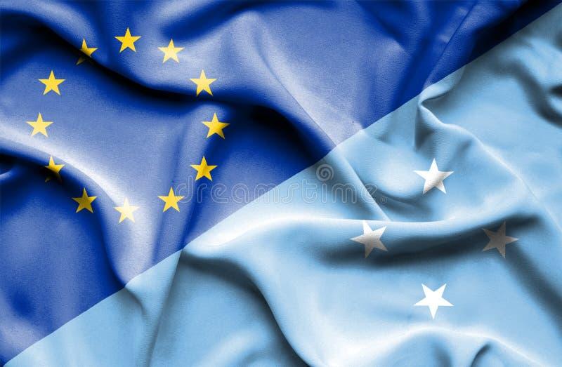 Развевая флаг Микронезия и ЕС стоковое изображение rf
