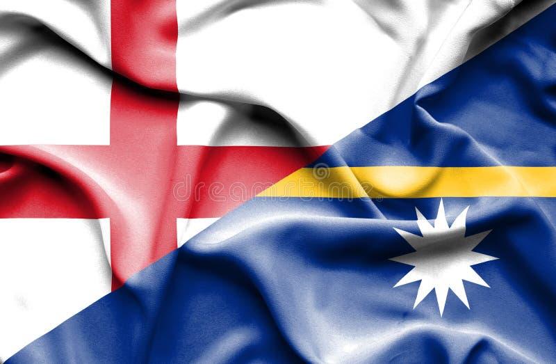 Развевая флаг Науру и Англии стоковое изображение rf