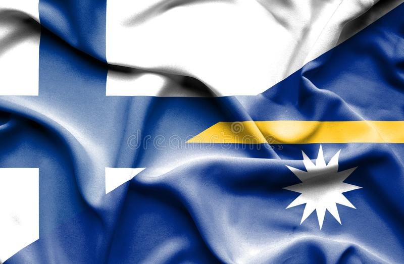 Развевая флаг Науру и Финляндии стоковое изображение