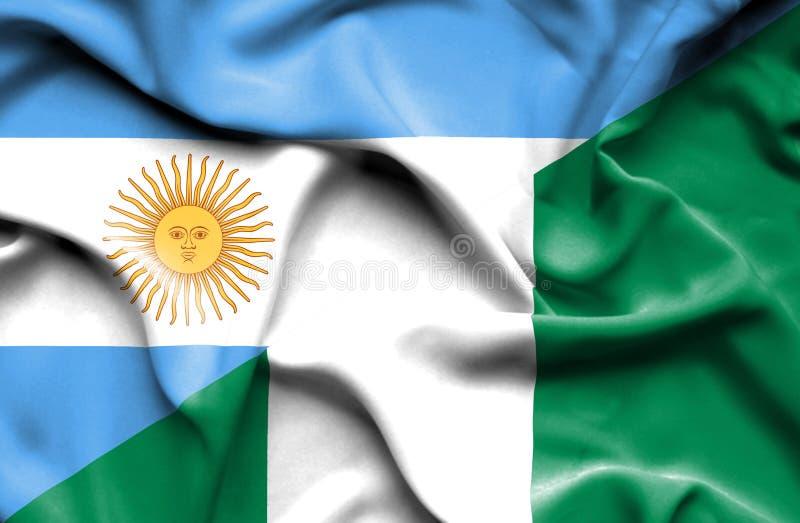 Развевая флаг Нигерии и Аргентины иллюстрация штока