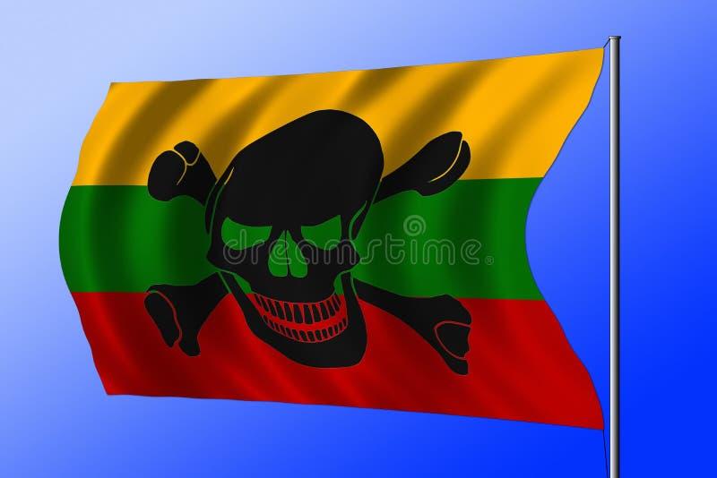 Развевая флаг пирата совмещенный с литовским флагом стоковые фотографии rf