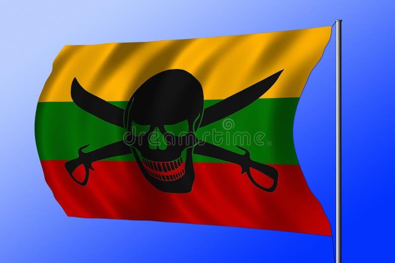 Развевая флаг пирата совмещенный с литовским флагом стоковые изображения