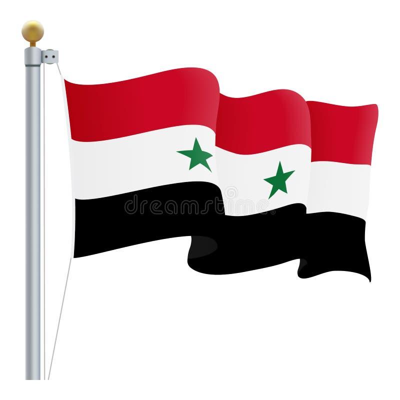 Развевая флаг Сирии изолированный на белой предпосылке также вектор иллюстрации притяжки corel иллюстрация штока