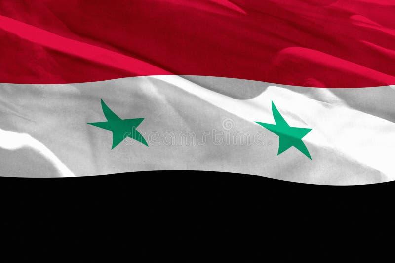 Развевая флаг сирийской арабской республики для использования как текстура или предпосылка, флаг порхает на ветре иллюстрация вектора