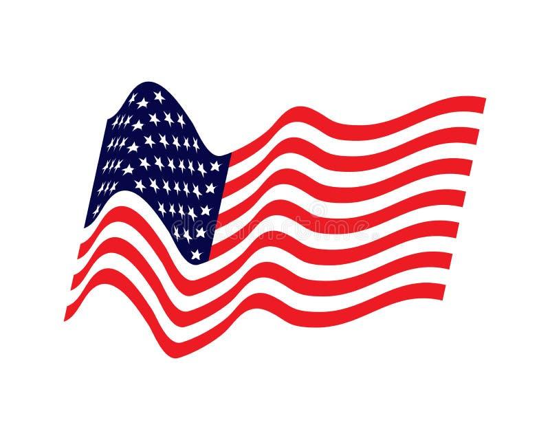 Развевая флаг Соединенных Штатов иллюстрация волнистого американского флага на День независимости Американский флаг на белой пред иллюстрация вектора