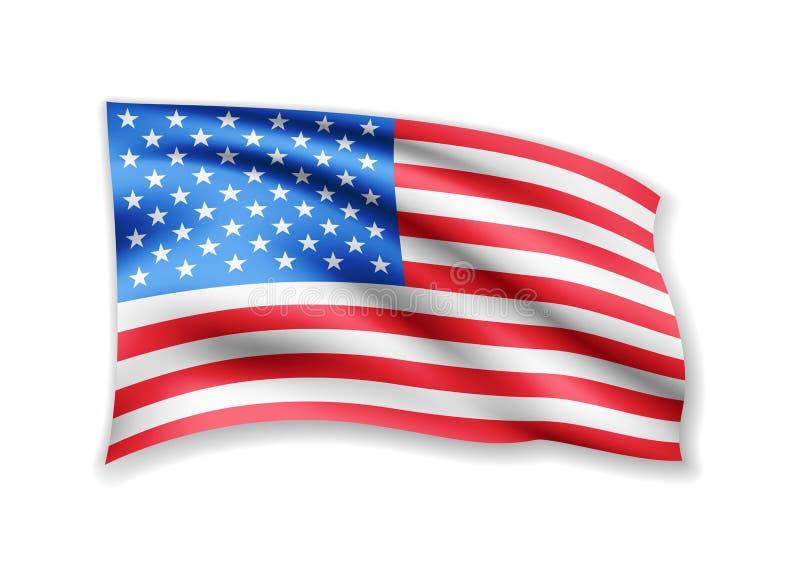 Развевая флаг США на белизне ветер американского флага иллюстрация вектора