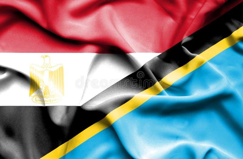 Развевая флаг Танзании и Египта стоковое изображение