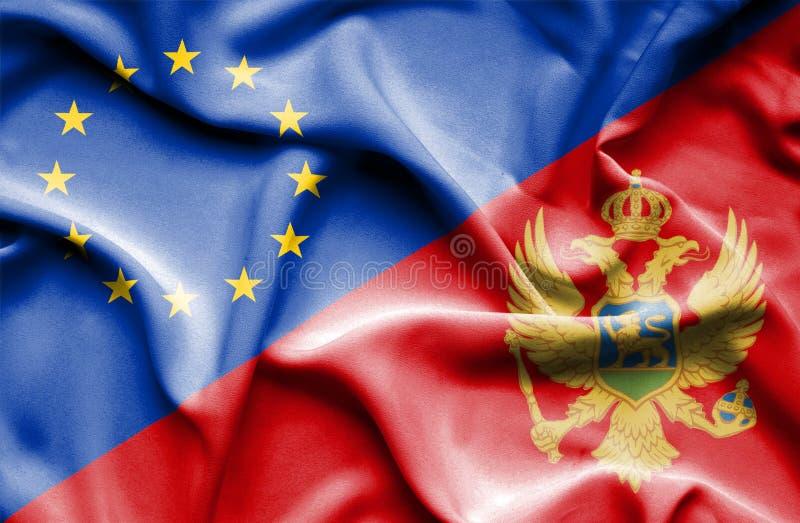 Развевая флаг Черногории и ЕС стоковое изображение
