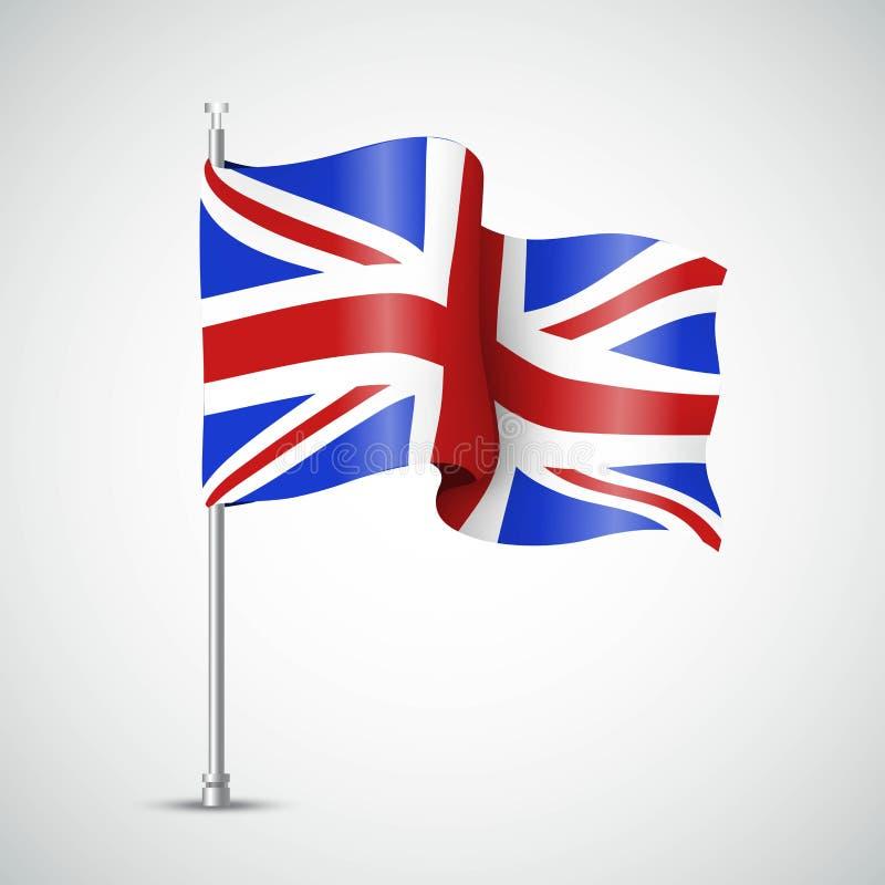 Развевая флаг Великобритании также вектор иллюстрации притяжки corel иллюстрация вектора