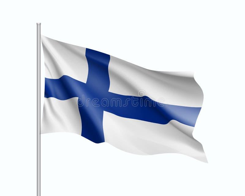 Развевая флаг положения Финляндии иллюстрация штока