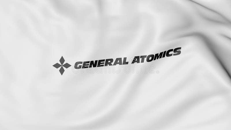 Развевая флаг с логотипом генерала Atomics Редакционный перевод 3D стоковая фотография