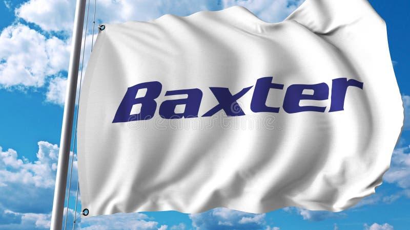 Развевая флаг с логотипом International Baxter Перевод Editoial 3D бесплатная иллюстрация