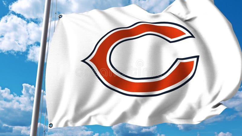 Развевая флаг с Чикаго носит профессиональный логотип команды Редакционный перевод 3D иллюстрация штока