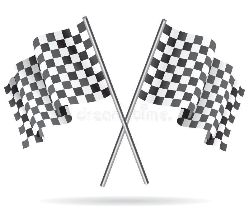 Развевая checkered флаг гонок также вектор иллюстрации притяжки corel иллюстрация вектора