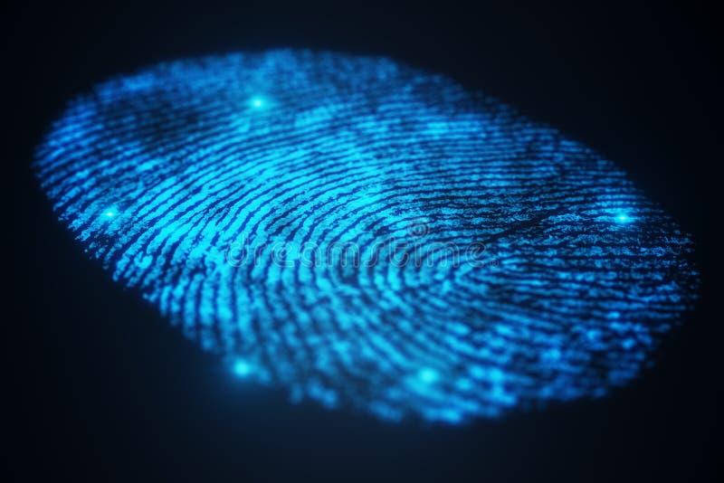 развертка отпечатка пальцев иллюстрации 3D обеспечивает доступ безопасностью с идентификацией биометрии Предохранение от отпечатк бесплатная иллюстрация
