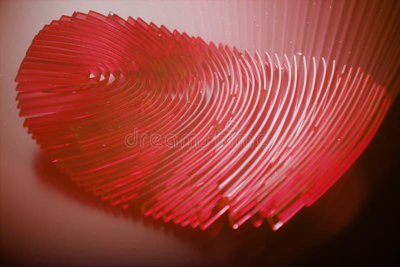 развертка отпечатка пальцев иллюстрации 3D обеспечивает доступ безопасностью с идентификацией биометрии Личные данные рубя концеп иллюстрация штока
