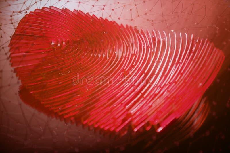 развертка отпечатка пальцев иллюстрации 3D обеспечивает доступ безопасностью с идентификацией биометрии Личные данные рубя концеп бесплатная иллюстрация