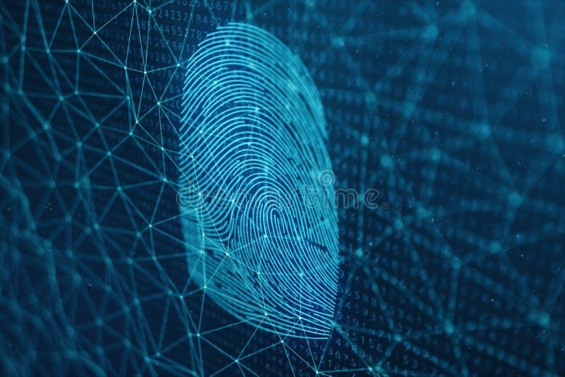 развертка отпечатка пальцев иллюстрации 3D обеспечивает доступ безопасностью с идентификацией биометрии Предохранение от отпечатк иллюстрация вектора
