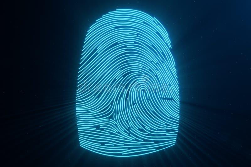 развертка отпечатка пальцев иллюстрации 3D обеспечивает доступ безопасностью с идентификацией биометрии Предохранение от отпечатк иллюстрация штока